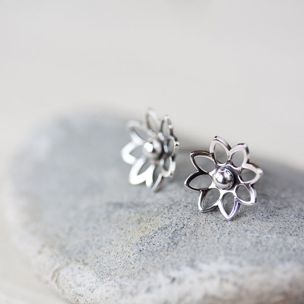 Lotus Flower Studs, 10mm