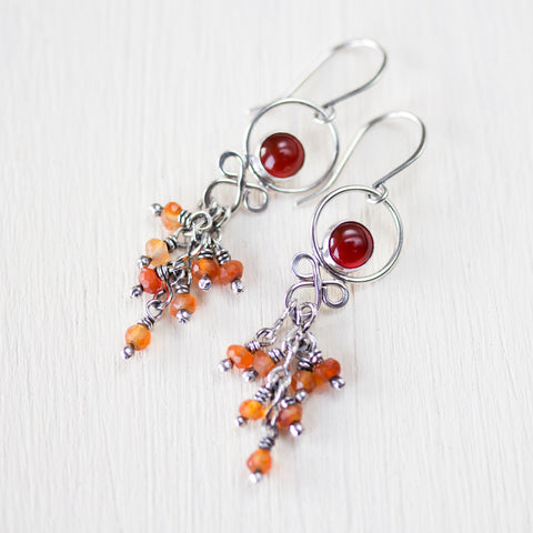 Dainty Carnelian Cascade Earrings, Sterling Silver - CookOnStrike