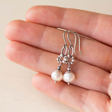 Load image into Gallery viewer, Unique Petite White Pearl Earrings, Sterling Silver - jewelry by CookOnStrike