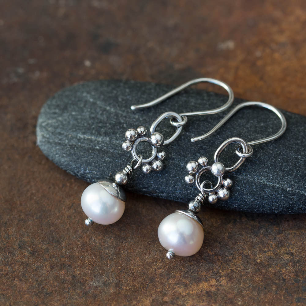 Unique Petite White Pearl Earrings, Sterling Silver - CookOnStrike