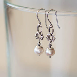 Unique Petite White Pearl Earrings, Sterling Silver - jewelry by CookOnStrike