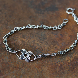 Silver Chain Bracelet With Celtic Hearts Ornament - jewelry by CookOnStrike