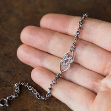Load image into Gallery viewer, Silver Chain Bracelet With Celtic Hearts Ornament - CookOnStrike