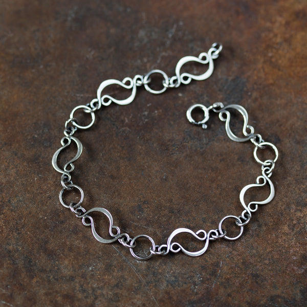 Marquise links chain bracelet, sterling silver - CookOnStrike