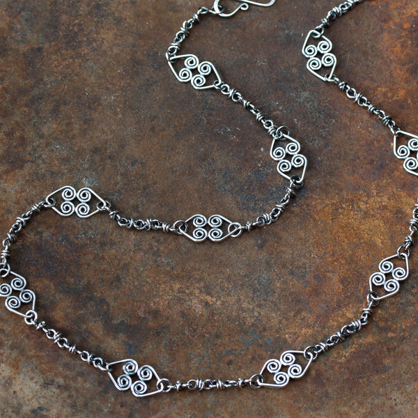 Handmade Chain Necklace with Celtic Ornaments, Sterling Silver - CookOnStrike