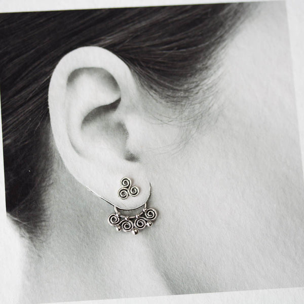 Celtic Style Ear Jackets with Mini Spirals, Sterling Silver - CookOnStrike