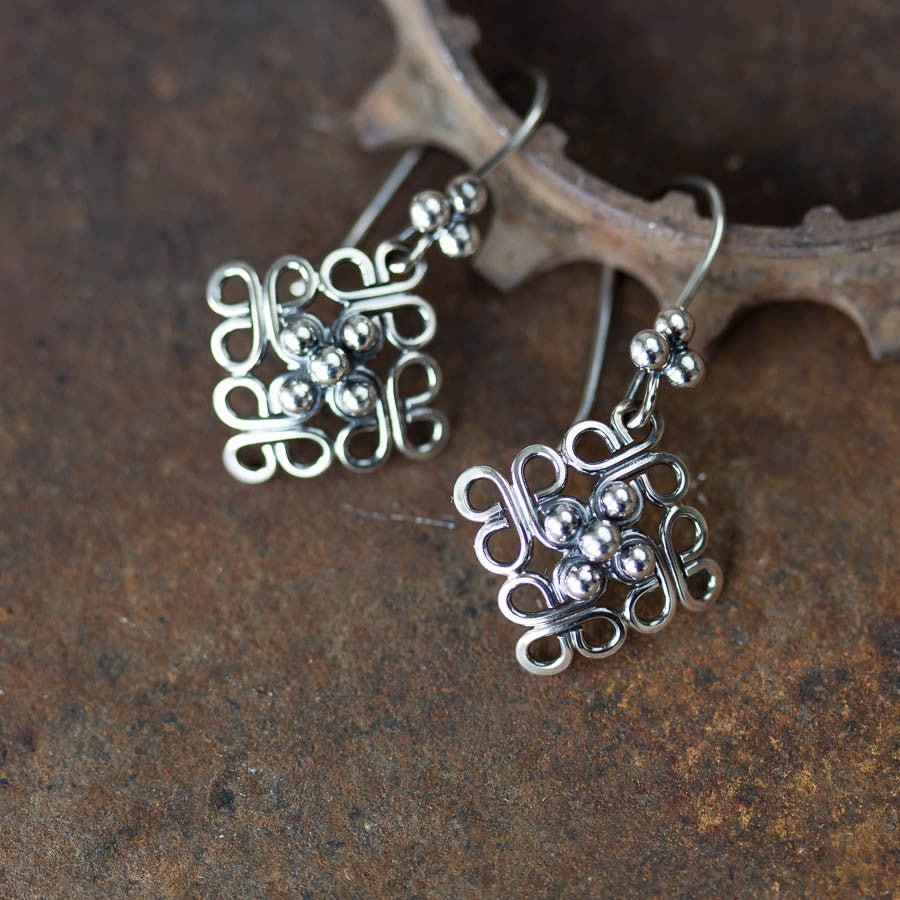 Ornamental Domed Square Earrings, Short Oxidized Silver Dangles