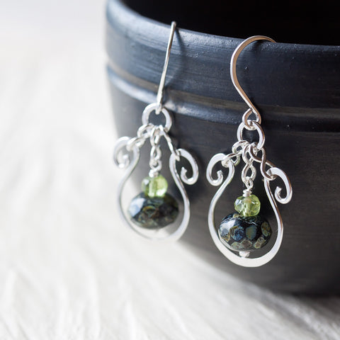 Elegant Dark Green Earrings, hammered sterling silver frame with a glass bead dangle - CookOnStrike