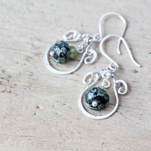 Elegant Dark Green Earrings, hammered sterling silver frame with a glass bead dangle