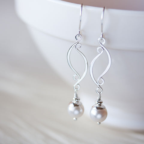 Elegant Long White Pearl Earrings, Artisan handcrafted sterling silver dangle