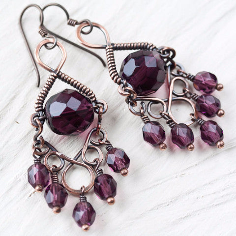 Grape purple chandelier earrings, copper earrings with glass crystal beads, hypoallergenic