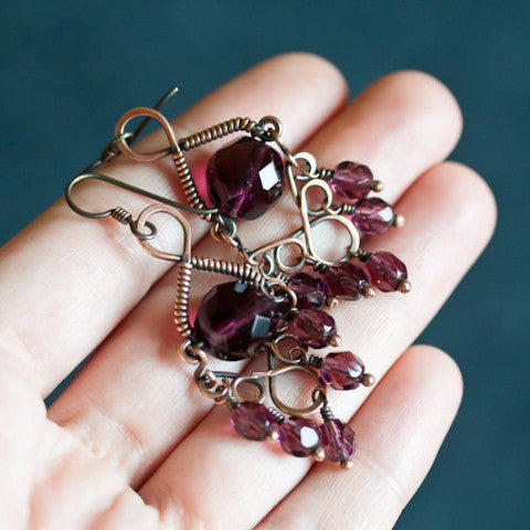 Grape purple chandelier earrings, copper earrings with glass crystal beads, hypoallergenic - CookOnStrike