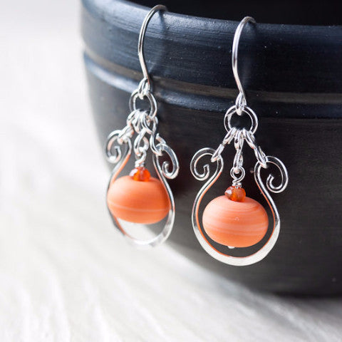 Bright Nectarine Orange Lampwork Earrings, hammered sterling silver drop frame