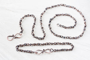 Copper Jewelry SET: Handmade Copper Chain Necklace and Bracelet - jewelry by CookOnStrike