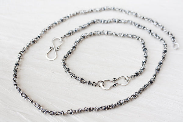 SET: Sterling Silver Chain Necklace and Bracelet