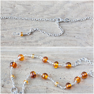 Natural Baltic Amber Necklace with a Beaded Starfish and Ocean Jasper Drops - CookOnStrike