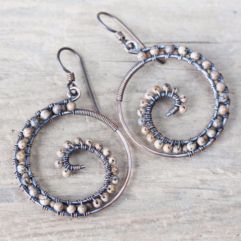 Earthy Picture Jasper Earrings, Oxidized copper wire wrapped spiral hoop