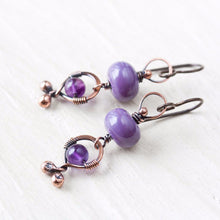 Load image into Gallery viewer, Playful lilac purple dangle earrings, oxidized copper, pastel purple lampwork glass and amethyst - jewelry by CookOnStrike