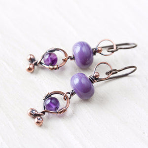 Playful lilac purple dangle earrings, oxidized copper, pastel purple lampwork glass and amethyst - jewelry by CookOnStrike