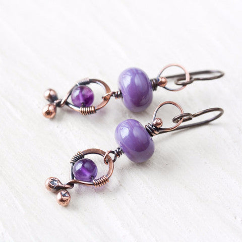 Playful lilac purple dangle earrings, oxidized copper, pastel purple lampwork glass and amethyst