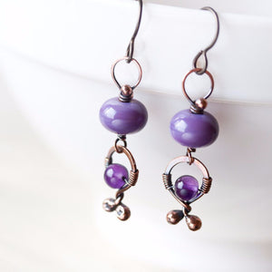 Unusual Boho Dangle Earrings, oxidized copper, pastel purple lampwork glass and amethyst - jewelry by CookOnStrike