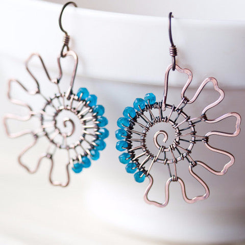 Teal blue apatite earrings, Unique asymmetric wire wrapped hammered copper spirals