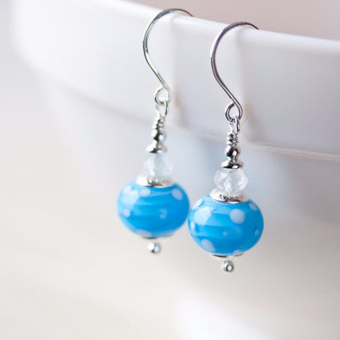 Dreamy Light blue earrings, short polka dot lampwork and aquamarine bead dangle - jewelry by CookOnStrike