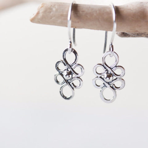 Dainty Handcrafted Silver Earrings, Tiny short sterling silver filigree dangles