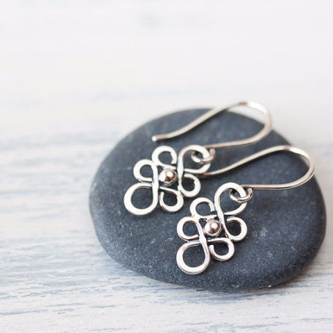 Dainty Handcrafted Silver Earrings, Tiny short sterling silver filigree dangles - CookOnStrike