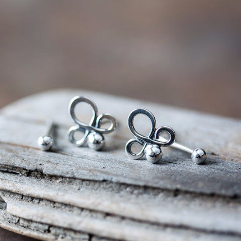 Abstract Double Piercing Earring Set, Sterling silver studs