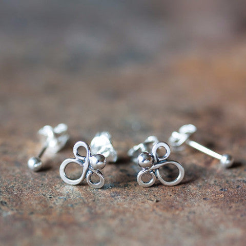 Abstract Double Piercing Earring Set, Sterling silver studs - CookOnStrike