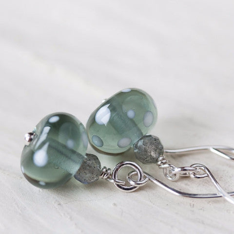 Subtle Light Gray Earrings, transparent polka dot lampwork glass with labradorite