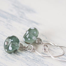 Load image into Gallery viewer, Subtle Light Gray Earrings, transparent polka dot lampwork glass with labradorite - jewelry by CookOnStrike