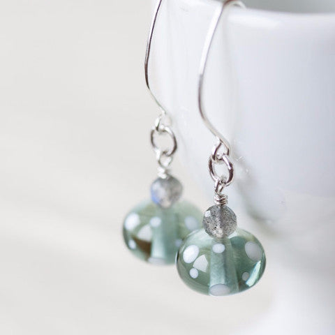 Subtle Light Gray Earrings, transparent polka dot lampwork glass with labradorite - jewelry by CookOnStrike