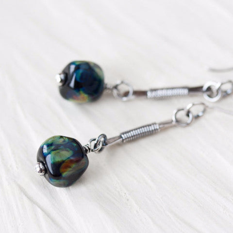 Long earthy dangle earrings, dark green and black lampwork