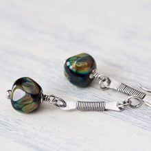 Load image into Gallery viewer, Long earthy dangle earrings, dark green and black lampwork - jewelry by CookOnStrike