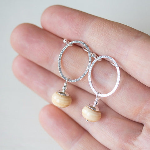 Textured Sterling Silver Earrings, Open oval with ivory lampwork dangles - CookOnStrike