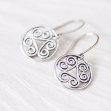 Load image into Gallery viewer, Tiny Spiral Medallion Earrings, Short silver dangles - jewelry by CookOnStrike