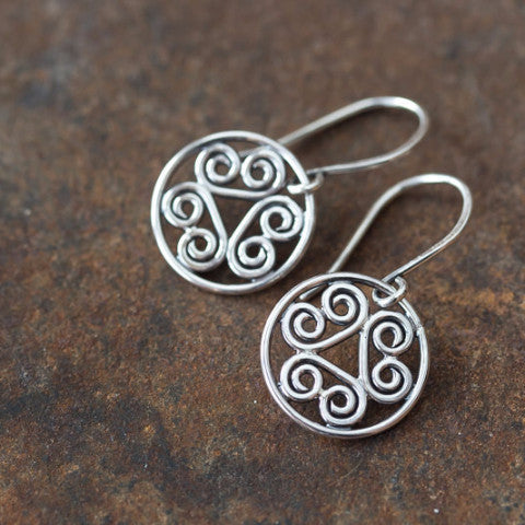 Tiny Spiral Medallion Earrings, Short silver dangles - jewelry by CookOnStrike