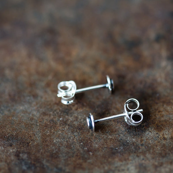 Very Tiny 4mm Round Layered Disc Studs, Teeny Tiny Minimalist Sterling Silver Stud Earrings
