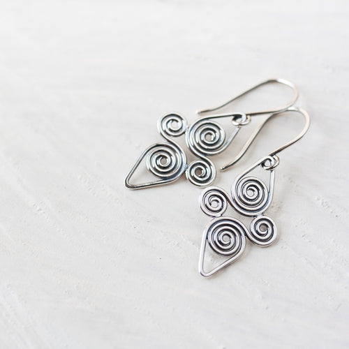 Interconnected Celtic spiral earrings, Handcrafted Small Silver Earrings - jewelry by CookOnStrike