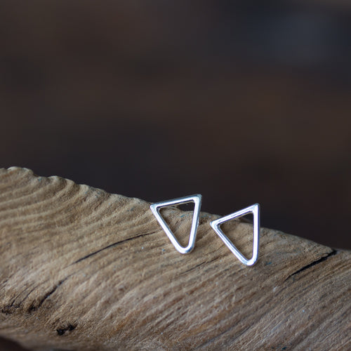 Minimalist Inverted Triangle Stud Earrings, Sterling Silver - jewelry by CookOnStrike