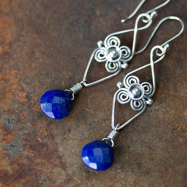 Long Elegant Lapis Lazuli Earrings, Sterling Silver Metalwork