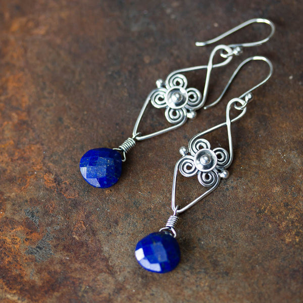 Long Elegant Lapis Lazuli Earrings, Sterling Silver Metalwork - CookOnStrike