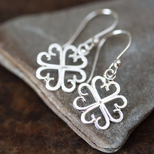 Unique Handcrafted Four Leaf Clover Earrings, Lucky Shamrock Charm - CookOnStrike
