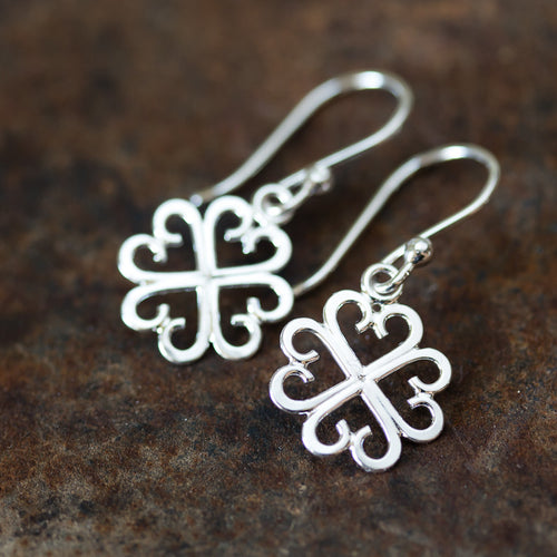 Unique Handcrafted Four Leaf Clover Earrings, Lucky Shamrock Charm - jewelry by CookOnStrike