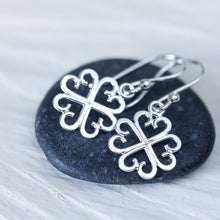 Load image into Gallery viewer, Unique Handcrafted Four Leaf Clover Earrings, Lucky Shamrock Charm - CookOnStrike