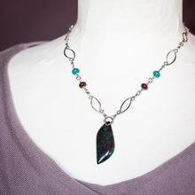 Load image into Gallery viewer, Sterling silver necklace with asymmetric malachite in cuprite stone leaf pendant - CookOnStrike