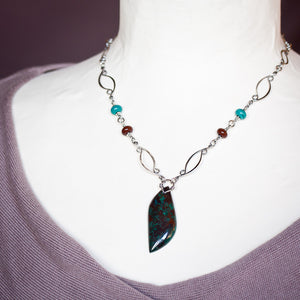 Sterling silver necklace with asymmetric malachite in cuprite stone leaf pendant - jewelry by CookOnStrike