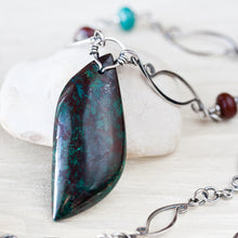 Load image into Gallery viewer, Sterling silver necklace with asymmetric malachite in cuprite stone leaf pendant - jewelry by CookOnStrike